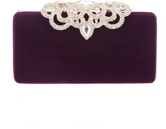 Fawziya Velvet Clutch Bag Wedding Crown Clasp Handbag