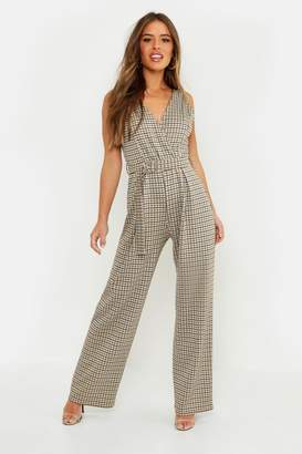 boohoo Petite Check Belted Wide Leg Jumpsuit