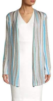 Context Beach Stripe Crochet Waterfall Cardigan