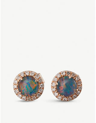 Meira T The Alkemistry 14ct rose gold, opal and diamond stud earrings