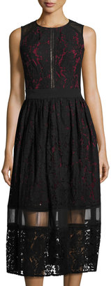 Julia Jordan Lace-Overlay Midi Dress, Black/Red $119 thestylecure.com