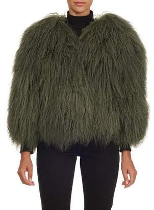Oscar de la Renta Lamb-Fur V-Neck Jacket