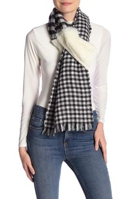 David & Young Houndstooth Faux Fur Panel Scarf