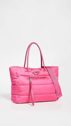 Prada What Goes Around Comes Around Pink Nylon Bomber Tote Bag