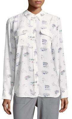 EquipmentSilk Point-Collar Casual Button-Down Shirt