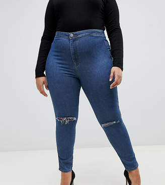 Asos DESIGN Curve Rivington high waisted jegging in mid wash with knee rips