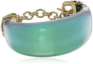 Alexis Bittar Crystal Studded Pleated Toggle Green Cuff Bracelet