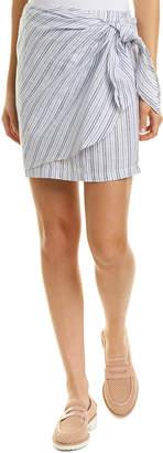 Three Dots Striped Linen Wrap Skirt