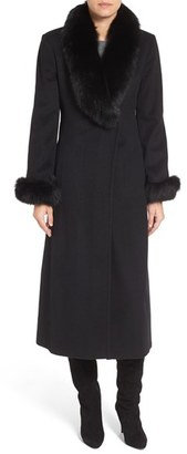Petite Women's Ellen Tracy Wool Blend Maxi Coat With Genuine Fur Trim $680 thestylecure.com