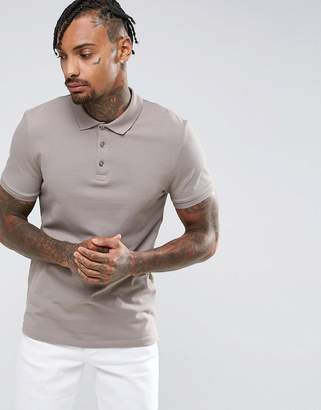 Asos DESIGN Muscle Fit Pique Polo In Statue