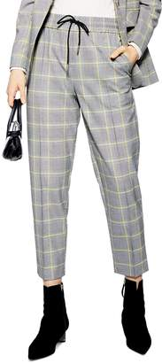 Topshop Windowpane Check Tapered Crop Pants