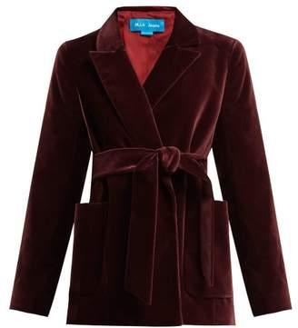 MiH Jeans Robin Tie Waist Velvet Blazer - Womens - Burgundy