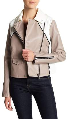 Bagatelle Colorblock Faux Leather Moto Jacket