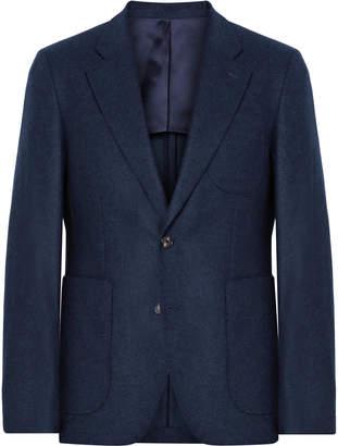 Privee Salle Midnight-Blue Havre Slim-Fit Wool-Flannel Blazer