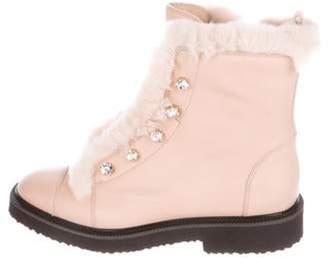 Giuseppe Zanotti Leather Fur Trim Ankle Boots Pink Leather Fur Trim Ankle Boots