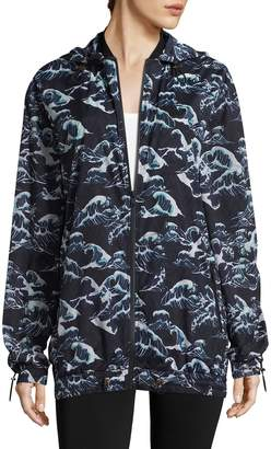 We Are Handsome Women's Wave Print Bomber Jacket