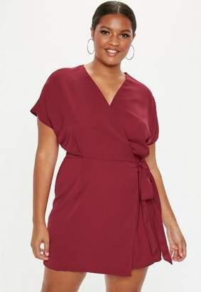 Missguided Plus Size Burgundy Kimono Sleeve Wrap Dress