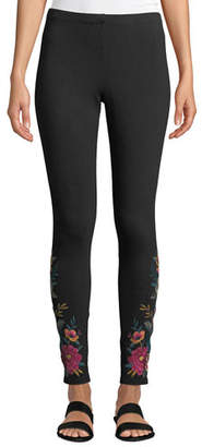 Johnny Was Katina Leggings w/ Floral Embroidery, Plus Size