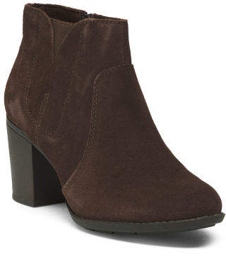 Wide Suede Comfort Booties