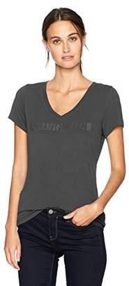 Calvin Klein Jeans Women's Short Sleeve Burnout Wash Id Logo T-Shirt