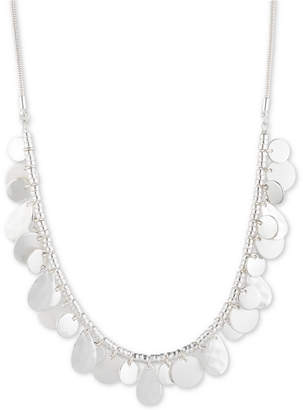 "Nine West Silver-Tone Shaky Disc Collar Necklace, 16"" + 2"" extender"