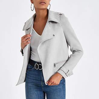 River Island Womens Light Grey suede popper front zip jacket