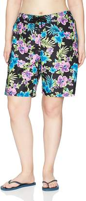 Kanu Surf Women's Plus Size Katya Upf 50+ Active Floral Swim Boardshort