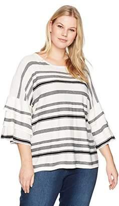 Calvin Klein Women's Plus Size Striped Ruffle Crewneck