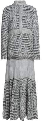 Maje Printed Cotton-Gauze Maxi Shirt Dress