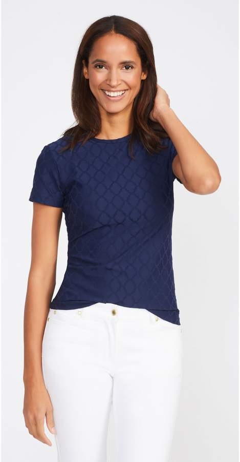 Allie Cap Sleeve Tee in Palm Springs Jacquard