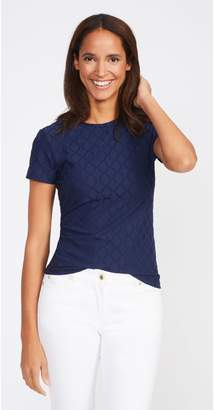J.Mclaughlin Allie Cap Sleeve Tee in Palm Springs Jacquard