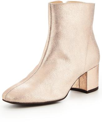 Very Metallic Leather Ankle Boot - Pink