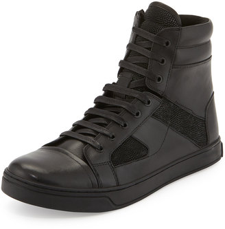 Kenneth Cole All About Swag Leather High-Top Sneaker, Black $134.10 thestylecure.com