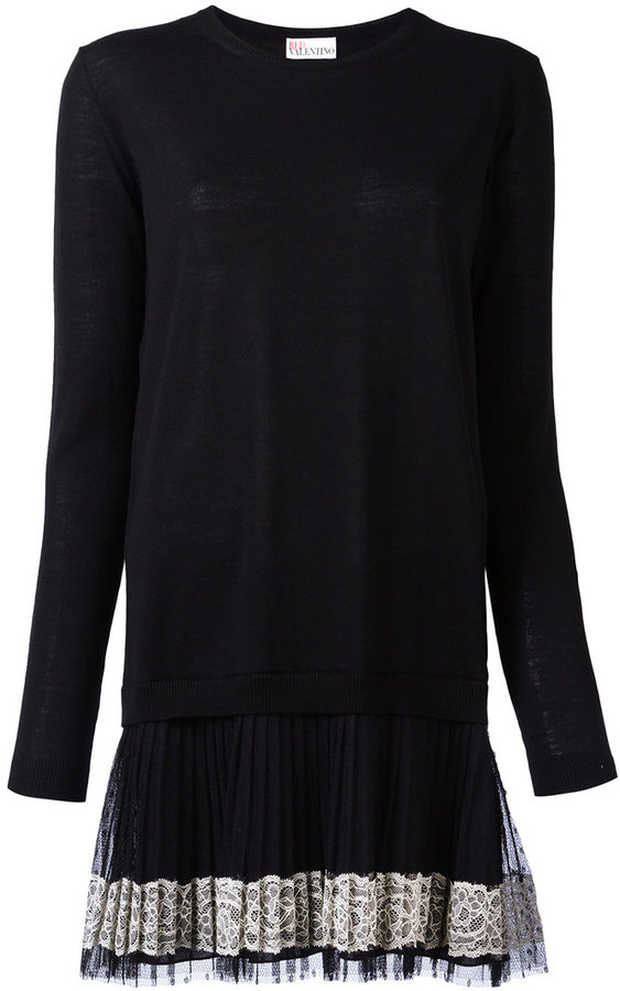 RED ValentinoRed Valentino pleated mini knitted dress