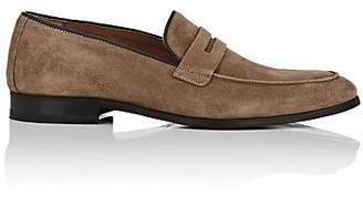 Barneys New York MEN'S SUEDE PENNY LOAFERS - SAND SIZE 8 M