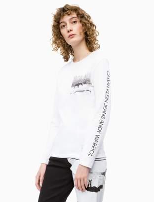 acce2fa075351b Calvin Klein warhol landscape crewneck long sleeve shirt