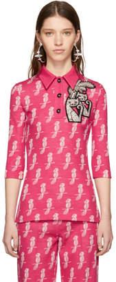 Miu Miu Pink Cat Applique Polo