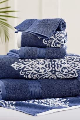 Amrapur Indigo Artesia Damask Reversible Yarn-Dyed Jacquard 6-Piece Towel Set