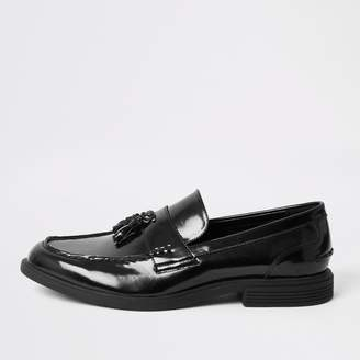 River Island Mens Black patent tassel chunky loafers