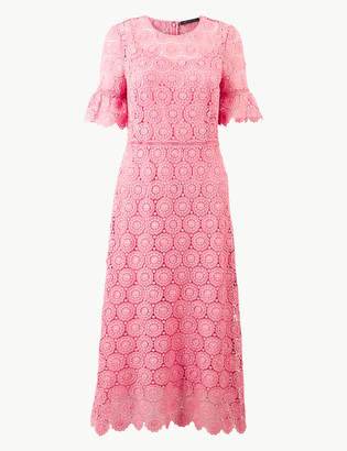 M&S CollectionMarks and Spencer Lace Short Sleeve Waisted Midi Dress