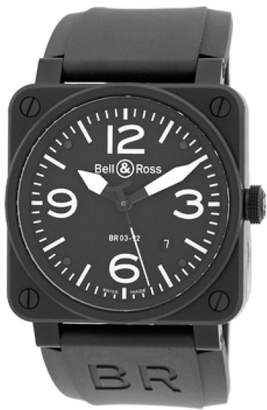 "Bell & Ross BR03-92"" Aviation Type Stainless Steel & Carbon Finish Mens Strap Watch"