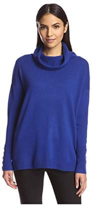 Society New York Women's Button Sleeve Cowlneck Sweater