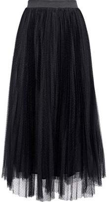 Maje Jesi Pleated Point D'esprit Midi Skirt