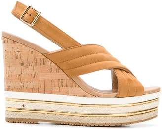 Hogan wedge slingback sandals