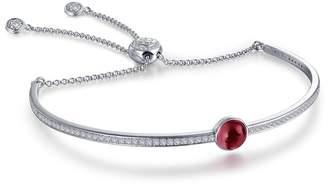 Lafonn Platinum Plated Sterling Silver Bezel Set Garnet January Birthstone Bracelet