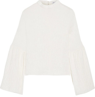 Rejina Pyo - Marta Bell-sleeve Pintucked Crepe Top - White $500 thestylecure.com