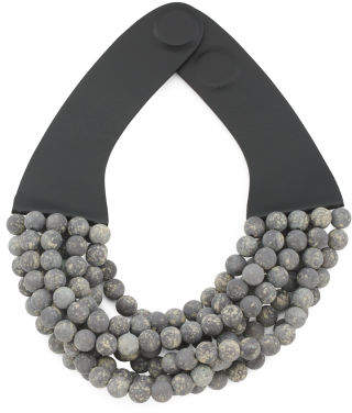 Handmade In Italy Leather Bella Beaded Multi Row Necklace