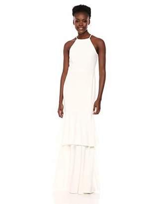 Halston Women's Sleeveless High-Neck Mesh Back Tiered Gown, Slate Grey