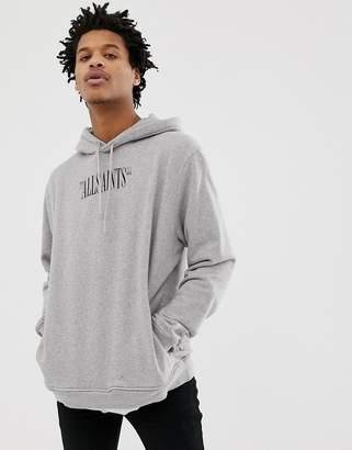 AllSaints hoodie in grey marl with logo print