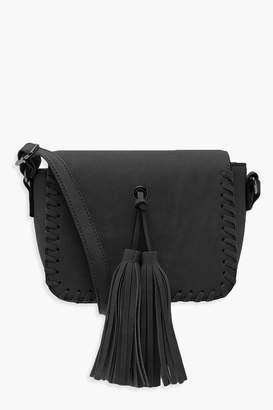 boohoo Mia Whip Stitch & Tassel Cross Body Bag